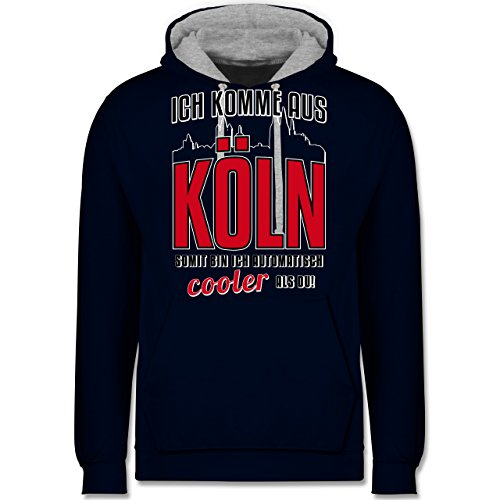 Städte - Ich komme aus Köln - Kontrast Hoodie Dunkelblau/Grau meliert