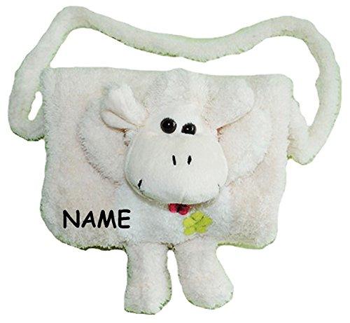 alles-meine.de GmbH weicher Muff -  Schaf in weiß  - incl. Name - mit extra Tasche - für warme Hände - Kinder Kindermuff - Tiere - zum Umhängen - für Mädchen und Jungen / wie H.. -
