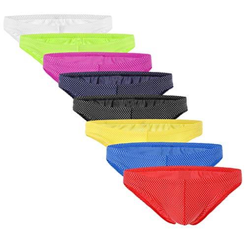 Slip Stretch-unterhemd (ZHANSANFM Herren 8er Pack Unterhose Sexy Strings Unterwäsche Brifes Unterhoses Atmungsaktive Mesh Slip Weiche Komfortable Bikini Lingerie Reizwäsche Stretch Ausbuchtung Höschen)