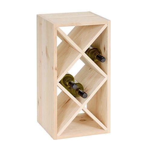 Weinregal / Flaschenregal System RAUTEN schmal für 10 Flaschen, Holz Kiefer natur, stapelbar /...