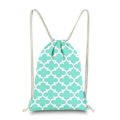 Miomao Drawstring Backpack Bag Quatrefoil Gym Sack Pack Geometric Sinch Sack  Sport String Bag with Pocket 710b04a415464