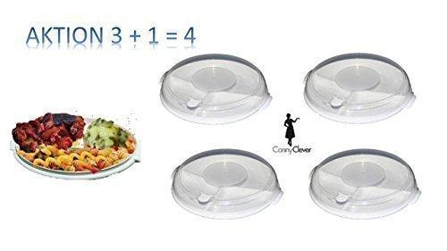 Mikrowellen-Teller-Set (3 Teller mit je 3 Fächern + 3 Deckel) weiß AKTION 3 + 1 = 4 Sie erhalten 4 Menüteller mit Deckel