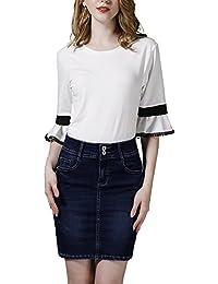 ZiXing Femmes Denim Jupe Filles Haute Taille Mini Jeans Jupes Au Dessus  Genou Longueur 7e7ee2f1387