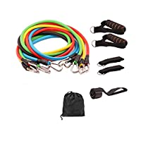 U-HOOME 11 Pcs Resistance Fitness Band Set with Stackable Exercise Bands Legs Ankle Straps Multi-function Fitness Equipment