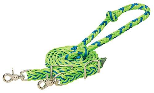 Weaver Leder gewachst geflochten Nylon Schaft Zügel, braun/hellbraun, Lime/Blau