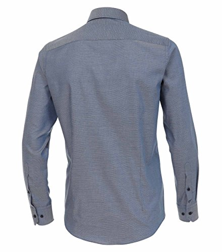 Venti Slim Fit Hemd Langarm mit Blauen Besätzen Struktur Weiß dunkles Mittelblau - uni nah (100)