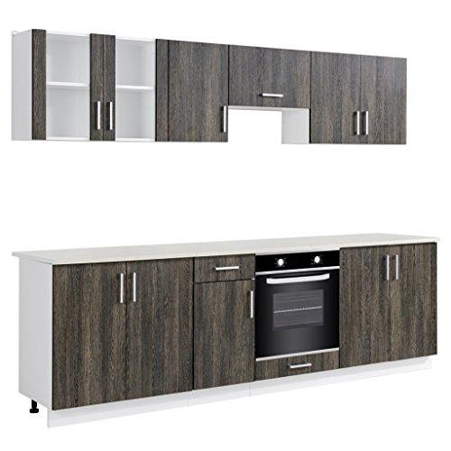 Anself Küchenzeile Küchenblock Einbauküche inkl. Einbauherd mit 6 Funktionen Wenge