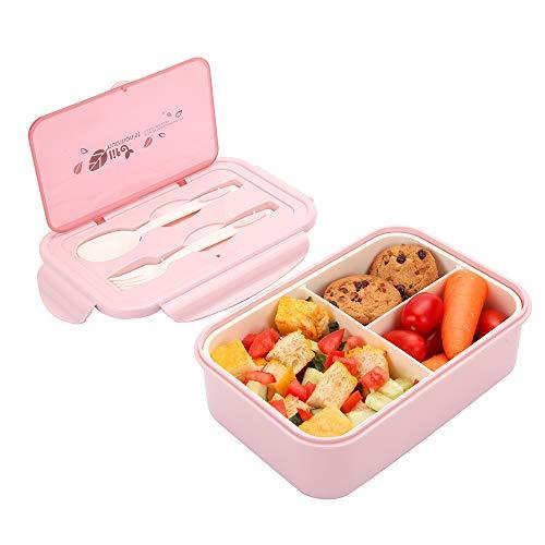 1000 ml Brotdose aus Kunststoff für Kinder Und Erwachsene, Bento Box Lunchbox mit 3 Fächern und Besteck, Vesperdose Mikrowelle Heizung (Hellrosa)