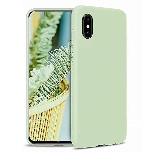 MUTOUREN Kompatibel mit iPhone XS/iPhone X Hülle TPU Flüssig Silikon Kratzfeste Schutzhülle mit stoßsicheres Futter aus Mikrofaser rutschfeste Handyhülle Schale Bumper Case, Matcha grün