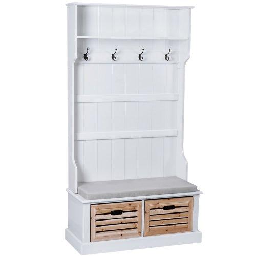 Miadomodo Landhaus Garderobe mit Sitzbank inkl. Sitzkissen, 2 Holzboxen und 4 Haken, Garderobenschrank weiß