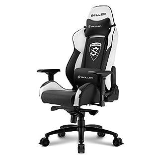 Sharkoon Skiller SGS3 Premium Gaming Seat, mit Kunstlederbezug, Aluminiumfußkreuz, extragroße Rollen mit Bremsfunktion, 4-Wege-Armlehnen, Stahlrahmen, Kopf- und Lendenkissen mit Stoffbezug