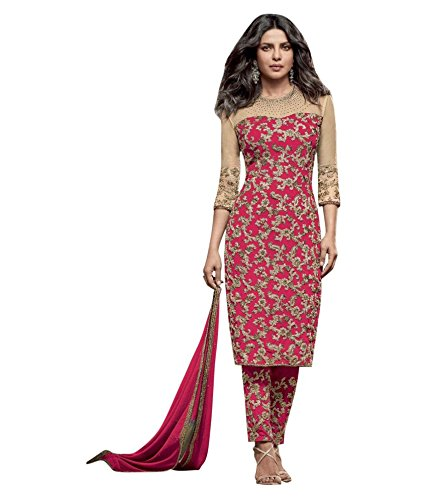 Salwar suit ( Vaikunth Fabrics Heavy Net And Georgette Pink Embroidered Women's Wear Semi Stitched Salwar Suit AS-5153-P)  available at amazon for Rs.1649