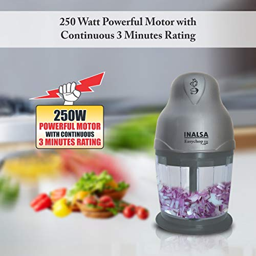Inalsa Easy Chop DX 250-Watt Electric Mini Chopper (Grey)