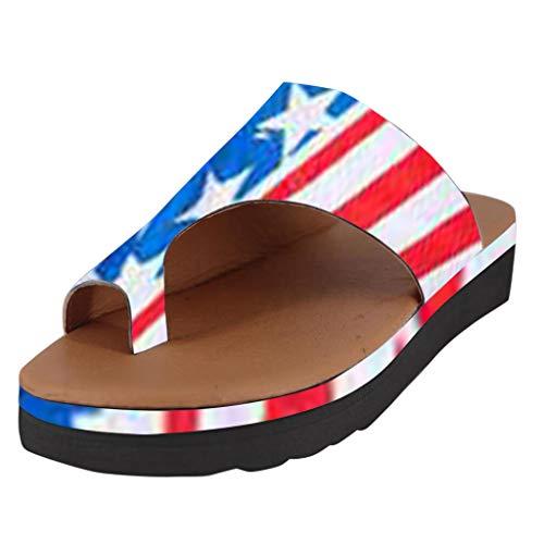 Steel Toe Slip (FeiBeauty Flip Flops für Damen, Bequeme Plateausandalen,Slip-On-Sandalen mit Keilabsatz,Strandschuhe aus PU-Leder, Fußkorrektur - Orthesen-Sandalen mit Fußgewölbestütze - Sommer Beach-Reiseschuhe)