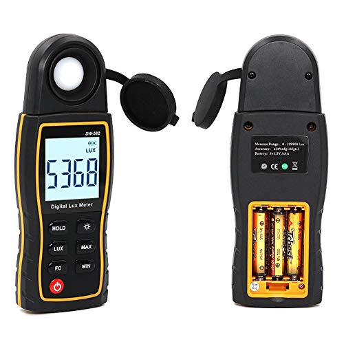 Handheld Ambient Temperature Measurer Digital Light Illuminance Meter with Range up to 199900 Lux Luxmeter Tester with 4 Digit Color LCD Screen