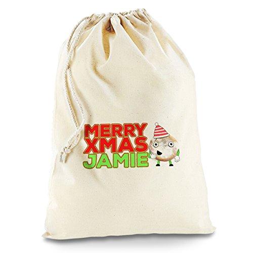 Personalisierte Cartoon Weihnachten Mince Pie groß weiß Weihnachtsgeschenk Santa Sack Mail Post Pudding Swag