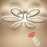 Wandun 85W LED Lampada da soffitto Creativo Forma di Fiore Plafoniera Moderna Acrilico Paralume in Alluminio Soggiorno Ufficio luci di soffitto Bianco Dimmerabile 3000-6000K