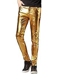 DianShaoA Pantaloni in Pelle Faux da Uomo Moto Elasticizzati Zip Biker Pantaloni  Hip Hop Punk Pantalone fdb3ffff5f25