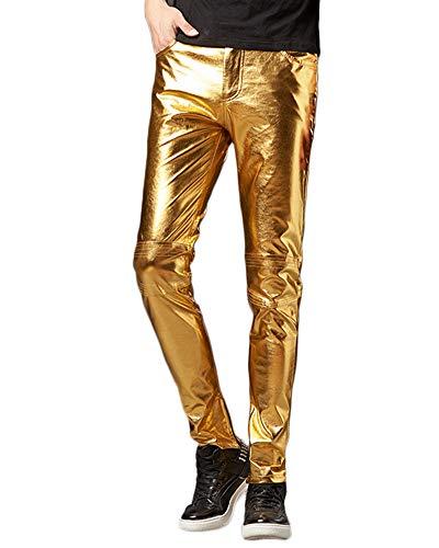 Glänzende Herren Slim Fit Soft Pu Faux Leder Biker Hose Rock Steampunk Motorradhose Bikerjeans Lederhose Gold M (Glänzendes Gold Hose Herren)