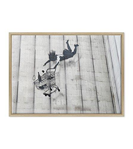 Bild auf Leinwand Canvas-Gerahmt-fertig zum Aufhängen-Banksy-Kunst Street Art Dimensione: 50x70cm B - Colore Legno Naturale Moderno