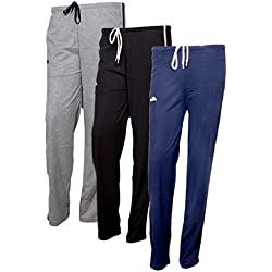 IndiWeaves Women's Premium Cotton Lower with 1 Zipper Pocket and 1 Open Pocket(Pack of 3)_Black::Blue::Brown-40