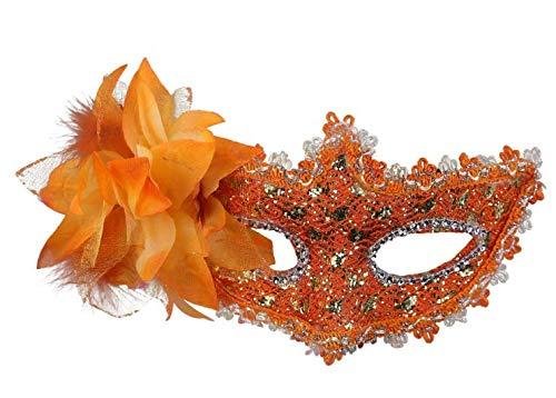 Jer Frauen Maske Venedig Sexy Spitze mit Strass Kostüm Maskerade Masken für Karneval, Anonymous Venetian Carnival Mask und Tanz, orange Produkt