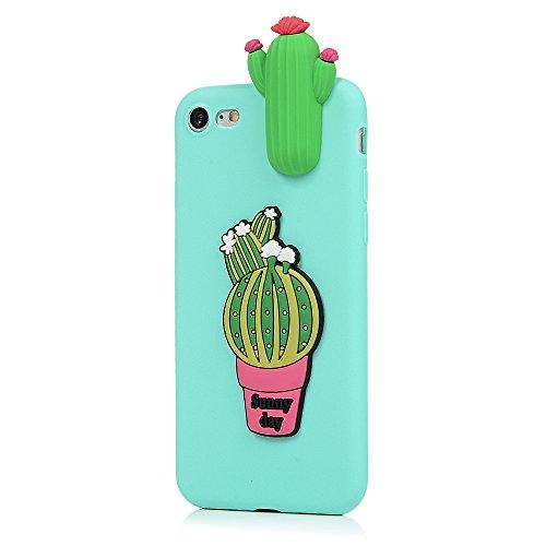 MAXFE.CO Schutzhülle Tasche Case für iPhone 7/iPhone 8 TPU Silikon Cover Etui Protective Schale Bumper Eiscreme Kaktus