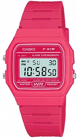 Casio Men's F-91WC-4AEF Quartz Watch with Digital Display and Resin Strap Pink