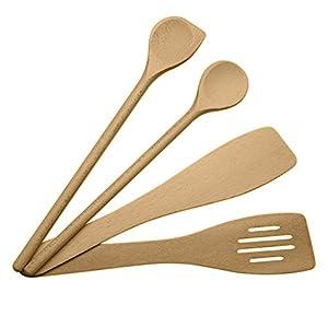 ⭐ Küchenhelfer set holz, küchenutensilien set holz, kochlöffel holz set, pfannenwender holz set, Kochlöffel - Premium-Qualität - Made in UE