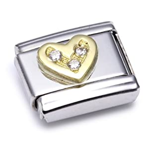 Nomination Comp. Classic LOVE Edelstahl, 18K-Gold und Cubic Zirc. (Herz WEISS) 030311