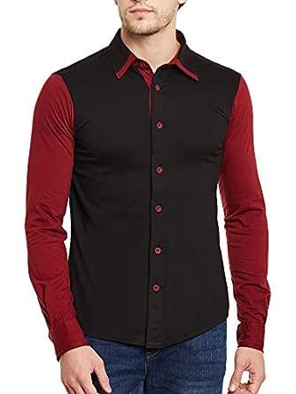 GRITSTONES Black-Maroon Full Sleeves Shirt GSFSSHRT1462BLKMRN_S