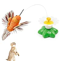 Pochers® Electric 360 Rotating Colorful Dancing Bird Pattern Funny Cat Toys (Color Random)