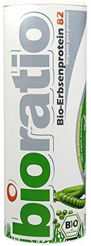 BIORATIO Premium Bio Erbsenprotein 800g, 82{44f36ad0358ce1df71078233a50f31d6bd1fa4632951d2892ea9f43159205cac} Proteingehalt, vegan, glutenfrei, gmo-frei, laktosefrei, frei von Süßstoffen, frei von Aromen