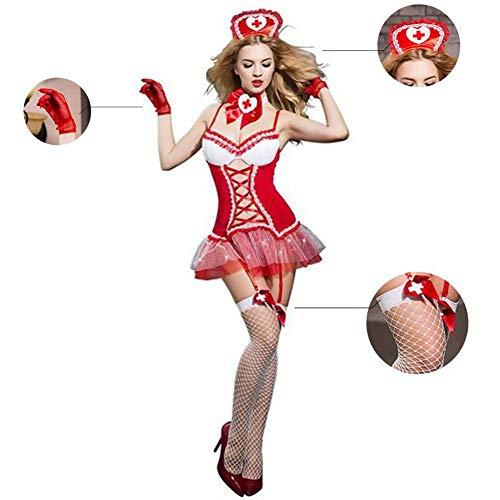DJUYUAN Damen Dessous Hosenträger Dessous Spitze Fischnetz Nachthemd Krankenschwester Kostüm für Erwachsene Strumpfband (Krankenschwester Pet Kostüme)