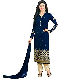 Exotic India Blue And Cream Prachi Salwar Kameez Suit With Golden Embroid - Blue