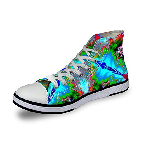 Ladies Hi Tops Canvas Shoes Walking Trainers Breath Flat Sneakers Women Pumps Blue UK 3