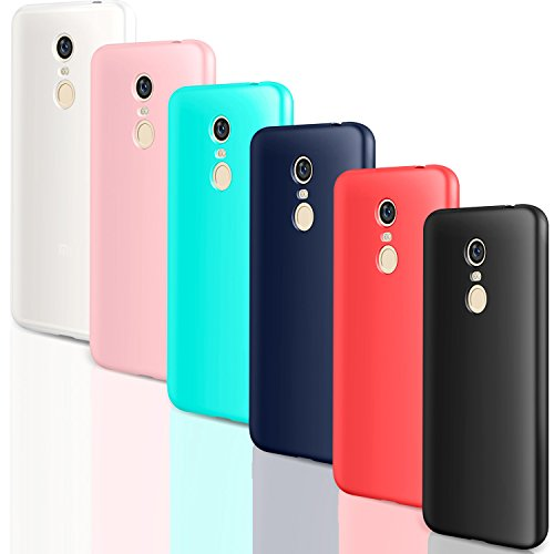 6X Funda Xiaomi Redmi 5 Plus, Leathlux Carcasas 6 Juntas Ultra Fina Redmi 5 Plus Silicona TPU Gel Protector Flexible Colores Case Cover para Xiaomi Redmi 5 Plus - Blanco Rosa Verte Azul Rojo Negro