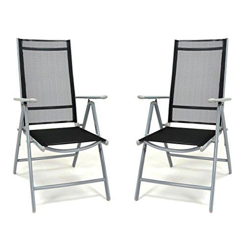 2er Set Klappstuhl schwarz Aluminium 7-fach-verstellbar Gartenstuhl mit Armlehne witterungsbeständig stabil leicht Hochlehner Rahmen silber Terrasse Balkon