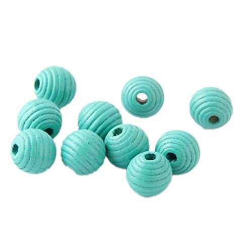 DIY 50 Stück Faden Bienenenholz-Perlen für Schmuckherstellung, Basteln, Kinderspielzeug, Zahnung, 14 mm Abstandshalter Perlen, glas, C8, 13 * 14mm 50 Pcs Mardi-gras-zucker