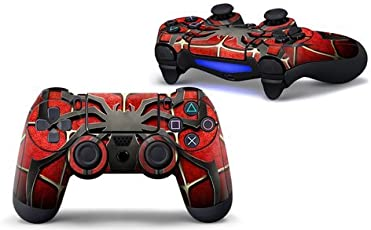 PS4 controller skin ( sticker ) of Spider black and red