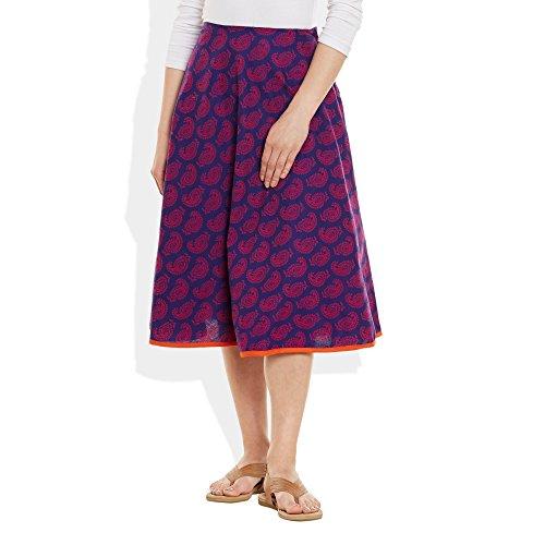 Womens Apparels Coton imprimé Longueur moyenne jupe A-Line VIN ROUGE