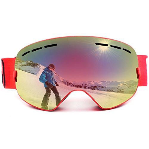 LUHUIYUAN Erwachsene Skibrille Männer und Frauen Sphärische Abnehmbare Linse UV-Anti-Nebel-Roten...