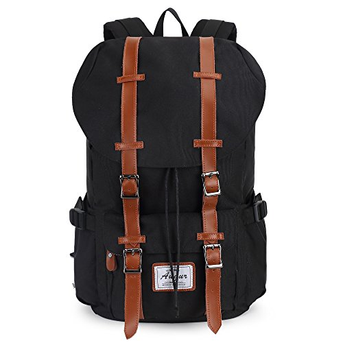 Backpack for Hiking Travel Trekking Fishing Outdoor Sports Laptop Canvas (Black)