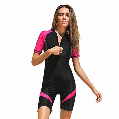 Eucoo Neue Damen Surfbekleidung Kurzer Neopren-Kurzarm-ReißVerschluss-Sonnenschutz-Taucheranzug(Rot, XL)