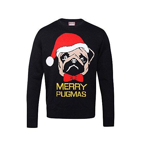 Erwachsene fröhliche Pugmas Mops-Hund Unisex Weihnachtspullover - Black - XS (Snowboarder Kostüm)