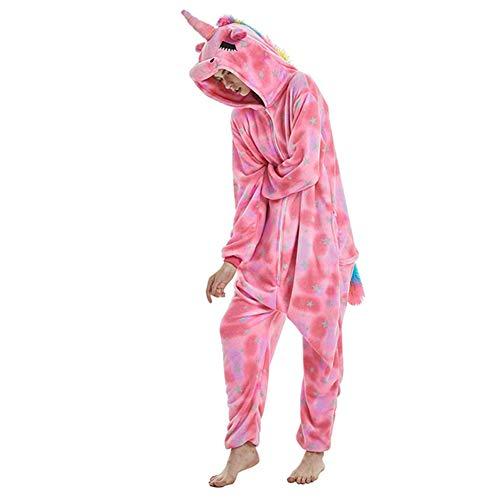 Einhorn-Kigurumi Fleece-Schlafanzug mit Kapuze, Einhorn, Tierkostüm, Unisex, Erwachsene, Herren, Damen, Kostüm, Loungewear, Übergröße, Pink XL(Fits Height ()