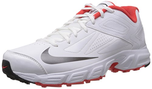 Nike Men's Potential White and Red Cricket Shoes - 9 UK