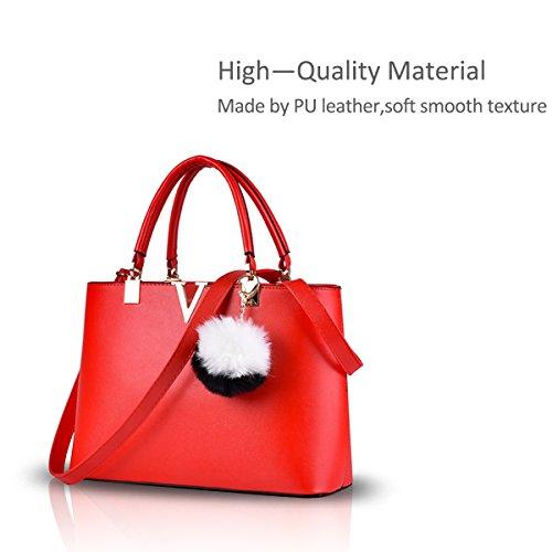 Nicole&Doris molla tendenza nuova borsa della moda minimalista per le donne sacchetto di spalla casuale(Red wine) rosso