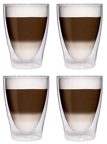 4 x 280 ml XL Verres Latte Macchiato Double Paroi de verres/verres à cocktail/pour thé glacé/verres à jus et eau – 4 x 280 ml élégant verres thermique avec effet de flottement de Feelino, 4 x 280 ml