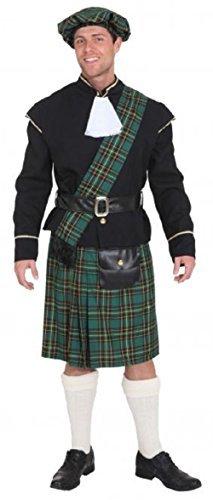 Fancy Me Herren grün schottisch Lord Highlander Keltisch Junggesellenabschied Abend Party lustig Kostüm Kleid Outfit - Grün, Large (EU 50/52)